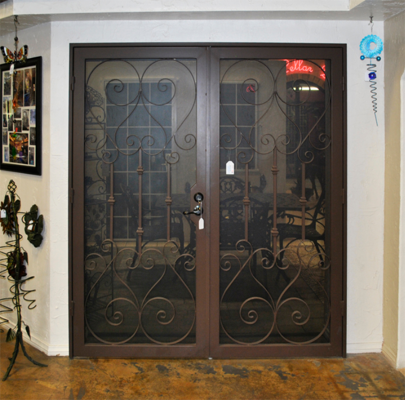 Traditional Double Security Door - Item Biscay FD0037A Wrought Iron Design In Las Vegas