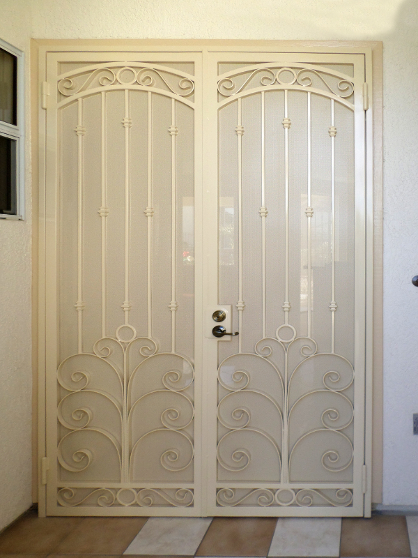 Traditional Double Security Door - Item Chattanooga FD0076 Wrought Iron Design In Las Vegas