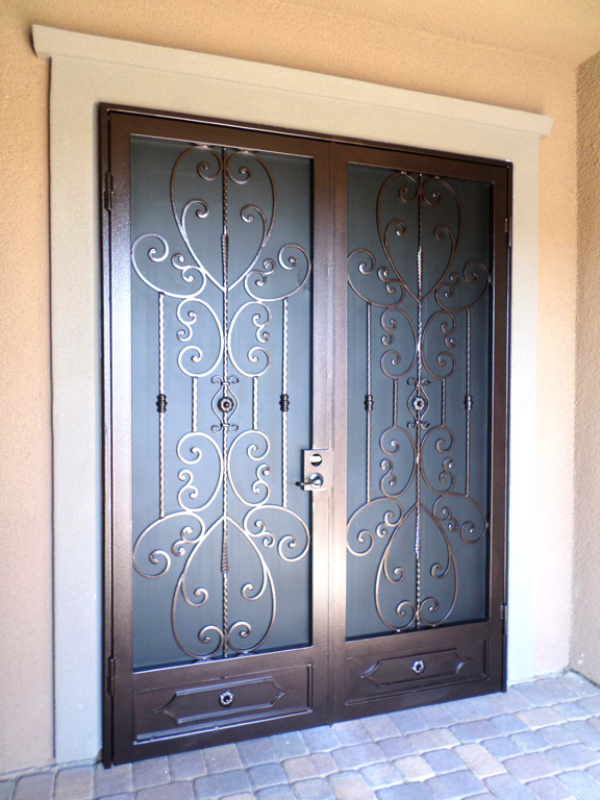 Traditional Double Security Door - Item Coco FD0085 Wrought Iron Design In Las Vegas