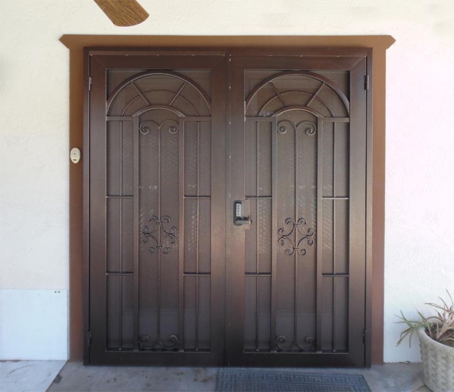Traditional Double Security Door - Item Dixie FD0134FR Wrought Iron Design In Las Vegas