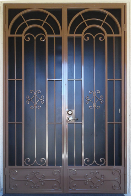 Traditional Double Security Door - Item Dixie FD0134T Wrought Iron Design In Las Vegas