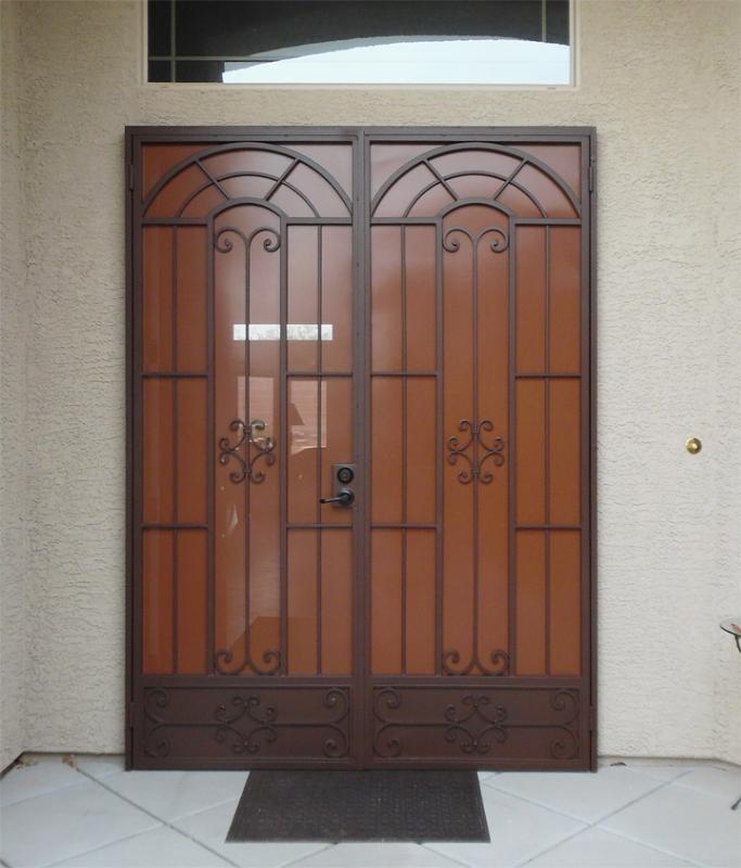 Traditional Double Security Door - Item Dixie FD0134TT Wrought Iron Design In Las Vegas
