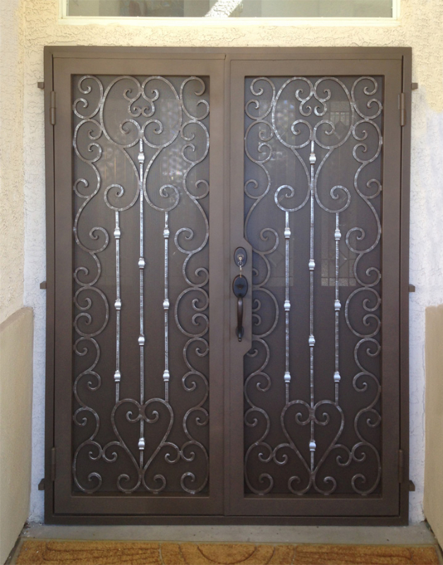 Traditional Double Security Door - Item Duchess FD0106 Wrought Iron Design In Las Vegas