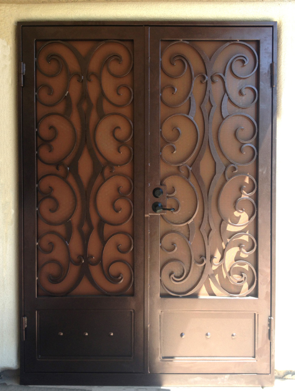 Traditional Double Security Door - Item Glasgow FD0089 Wrought Iron Design In Las Vegas