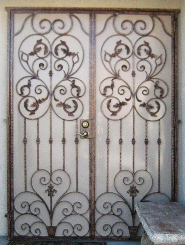 Traditional Double Security Door - Item Jardin FD0058 Wrought Iron Design In Las Vegas