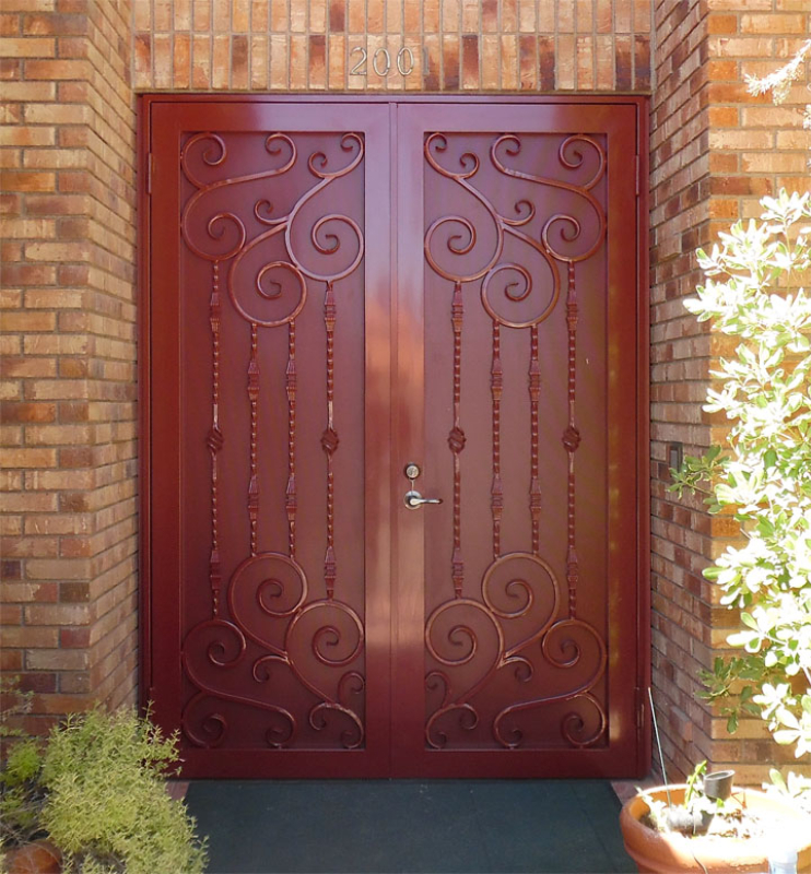 Traditional Double Security Door - Item Melodia FD0105A Wrought Iron Design In Las Vegas