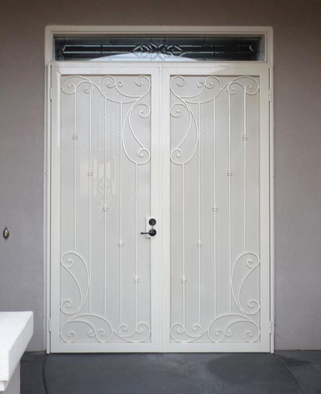 Traditional Double Security Door - Item Melodia FD0114 Wrought Iron Design In Las Vegas