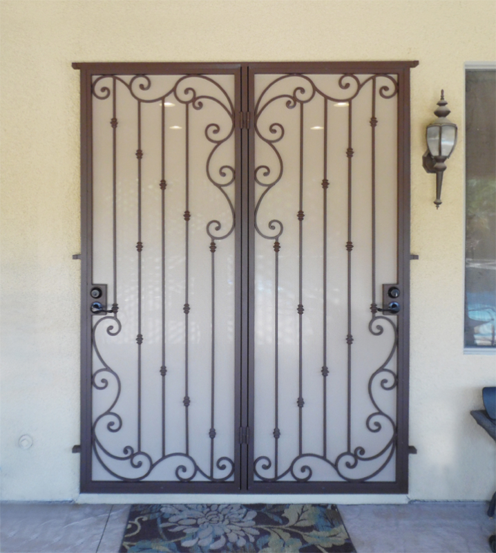 Traditional Double Security Door - Item Melodia FD0164A Wrought Iron Design In Las Vegas