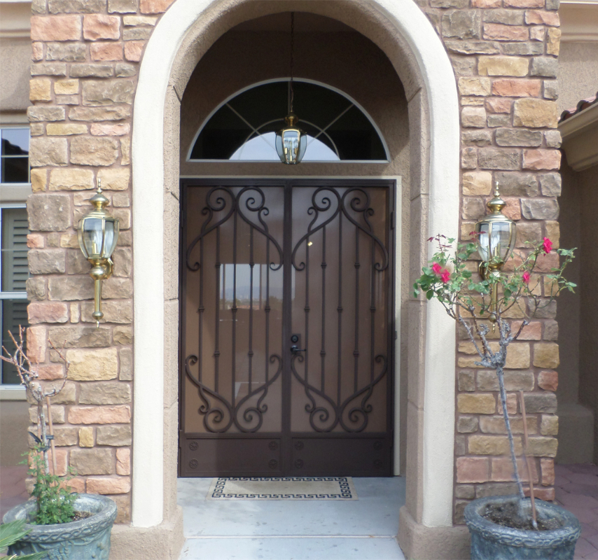 Traditional Double Security Door - Item Mozart FD0065A Wrought Iron Design In Las Vegas