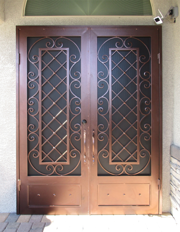 Traditional Double Security Door - Item Paisley FD0165 Wrought Iron Design In Las Vegas