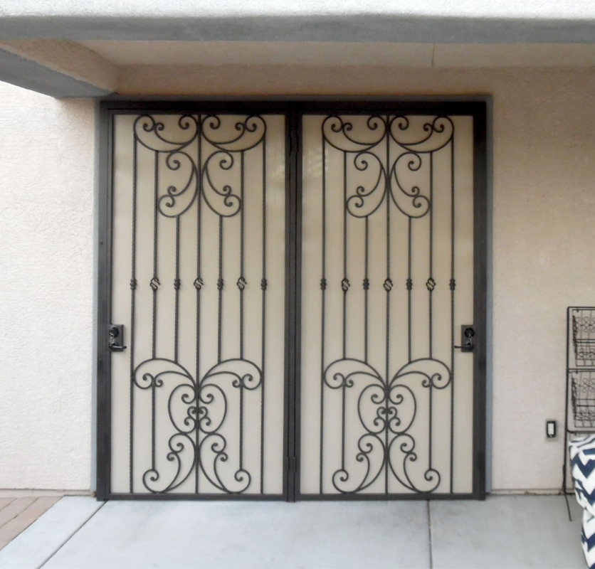 Traditional Double Security Door - Item Papillion FD0112 Wrought Iron Design In Las Vegas