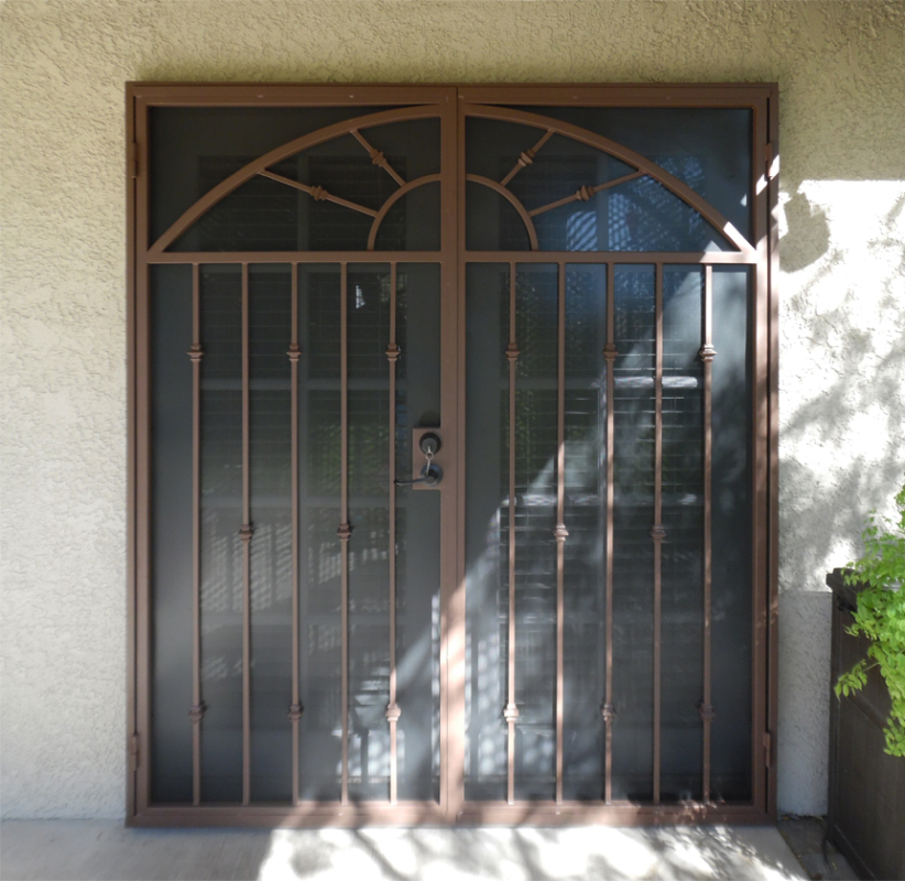 Traditional Double Security Door - Item Revere FD0033A Wrought Iron Design In Las Vegas