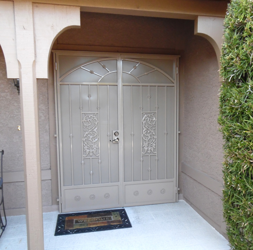 Traditional Double Security Door - Item Revere FD0033_Beige Wrought Iron Design In Las Vegas