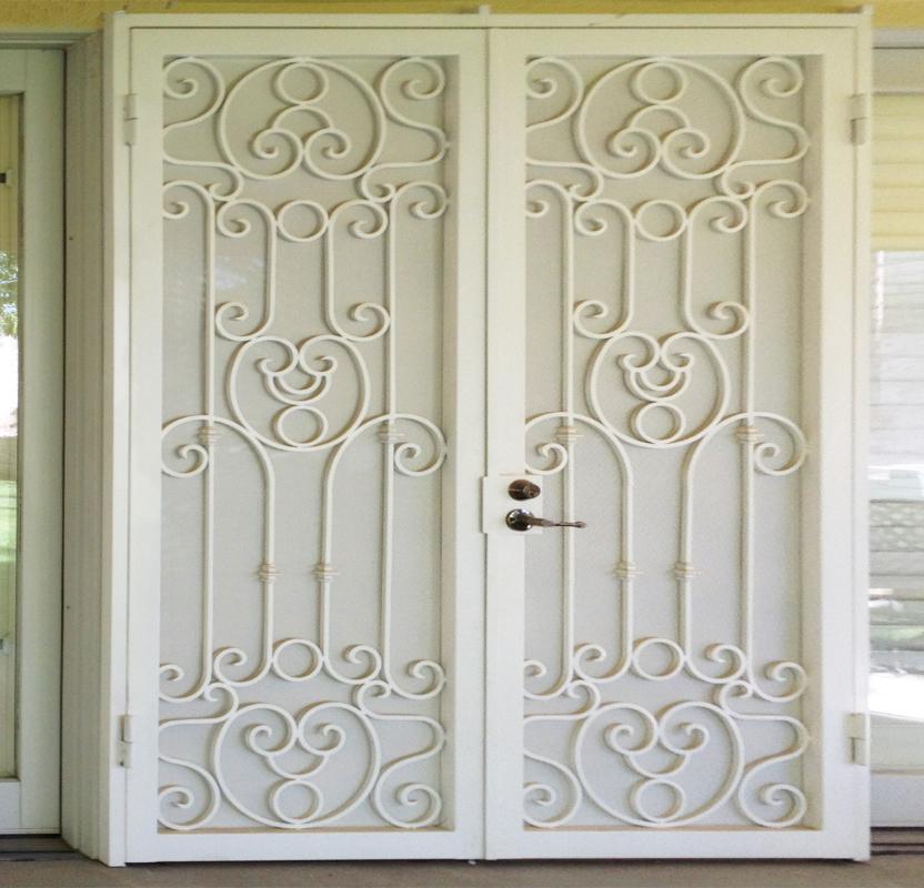 Traditional Double Security Door - Item Sahara FD0066 Wrought Iron Design In Las Vegas