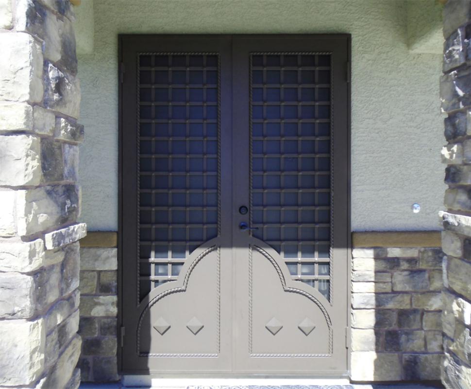 Traditional Double Security Door - Item Templar FD0146 Wrought Iron Design In Las Vegas