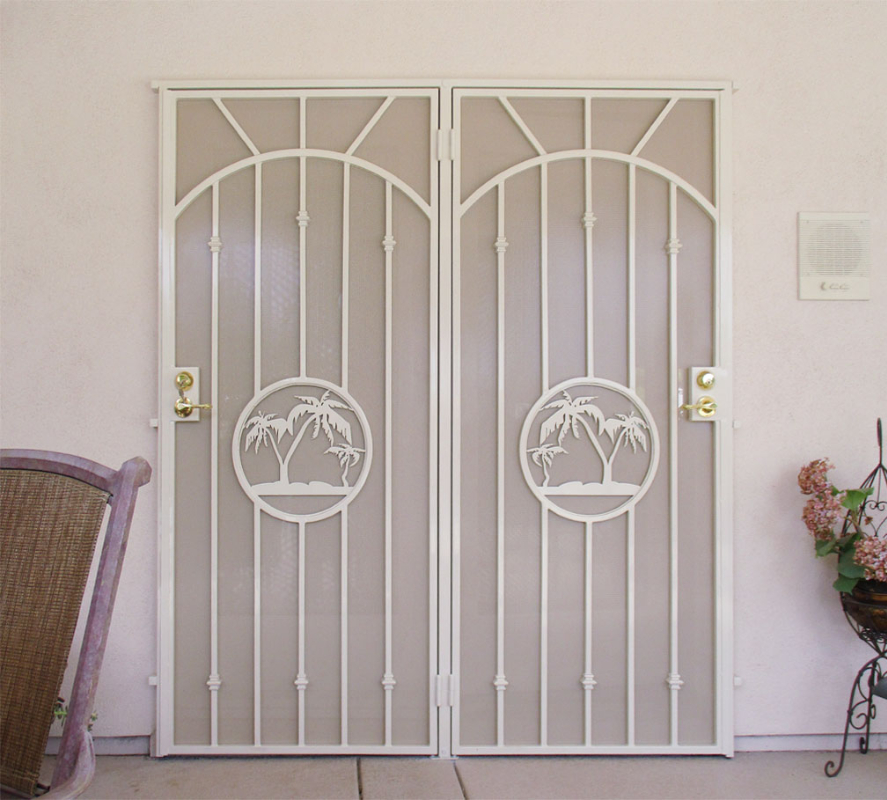 Traditional Double Security Door - Item The Palms FD0139A Wrought Iron Design In Las Vegas