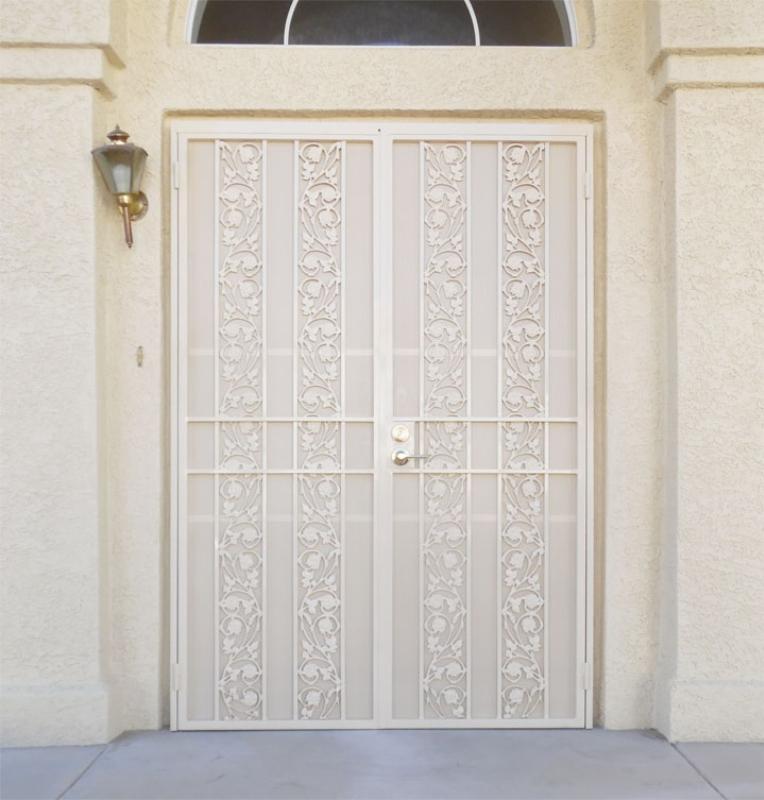 Traditional Double Security Door - Item Vivian FD0123 Wrought Iron Design In Las Vegas