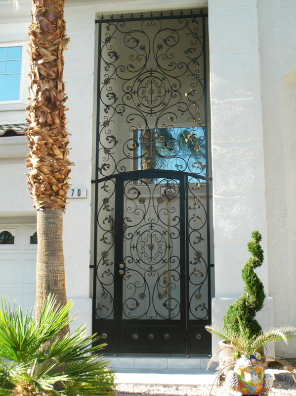 Traditional Favela Entryway Door - Item EW0170 Wrought Iron Design In Las Vegas