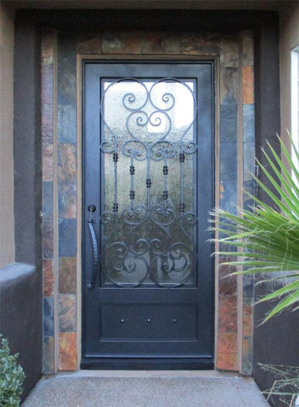 Traditional Front Door - Item Biscay FD0159 Wrought Iron Design In Las Vegas
