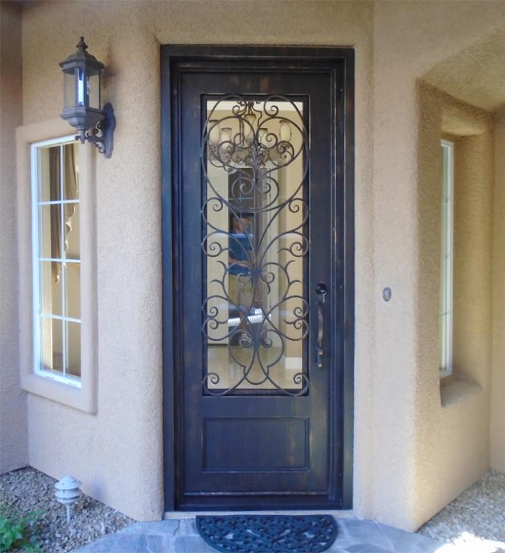 Traditional Front Door - Item Genesis GE0057A Wrought Iron Design In Las Vegas