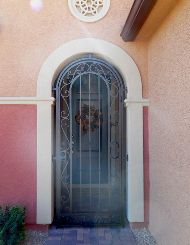 Traditional Paisley Entryway Door - Item EW0448 Wrought Iron Design In Las Vegas