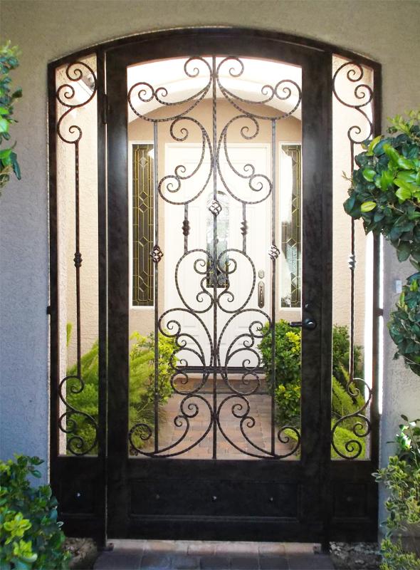 Traditional Papillion Entryway Door - Item EW0086A Wrought Iron Design In Las Vegas
