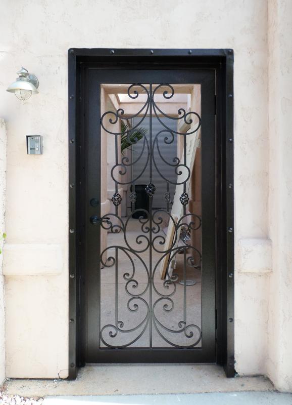 Traditional Papillion Entryway Door - Item EW0086B Wrought Iron Design In Las Vegas