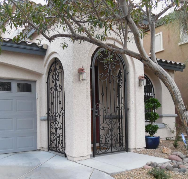 Traditional Papillion Entryway Door - Item EW0095A Wrought Iron Design In Las Vegas