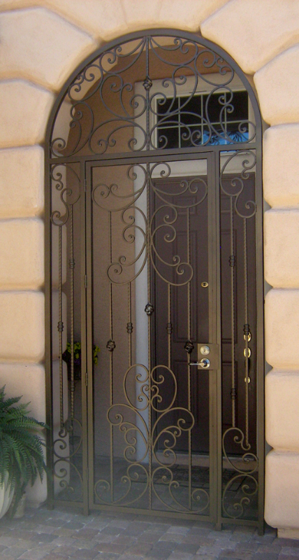 Traditional Papillion Entryway Door - Item EW0107 Wrought Iron Design In Las Vegas
