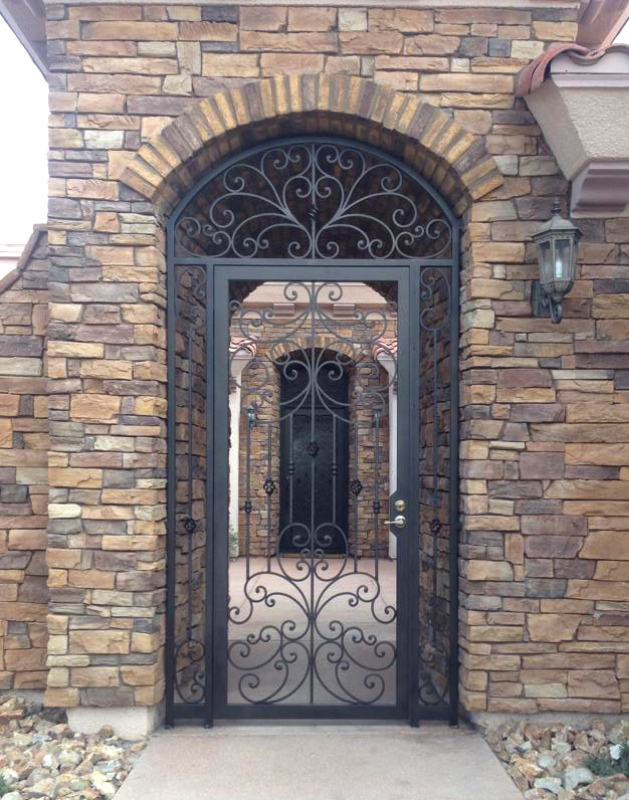 Traditional Papillion Entryway Door - Item EW0293A Wrought Iron Design In Las Vegas