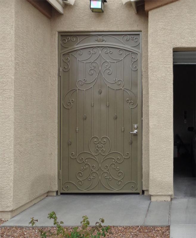 Traditional Papillion Entryway Door - Item EW0472 Wrought Iron Design In Las Vegas