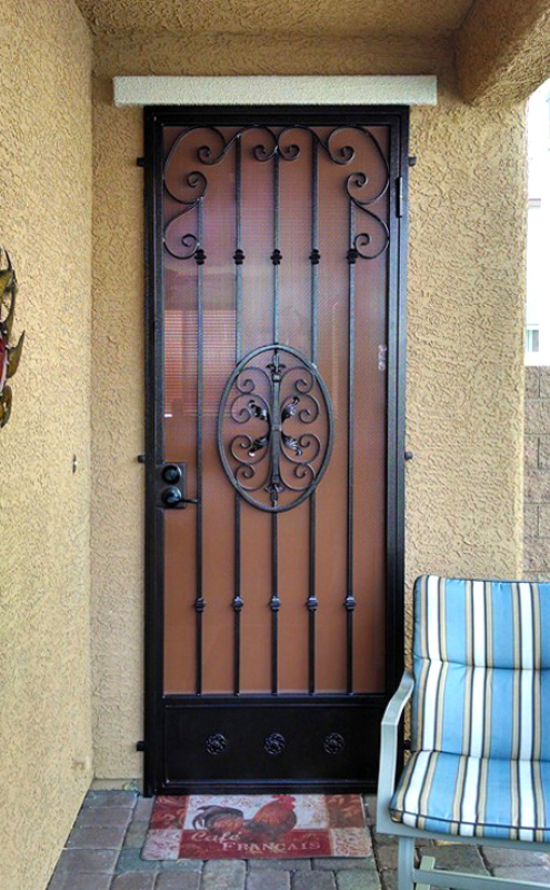 Traditional Security Door - Item Abbey SD0024A_Black-Red Wrought Iron Design In Las Vegas