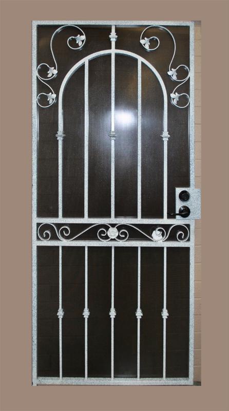 Traditional Security Door - Item Americana SD0122A_Gray-Black Wrought Iron Design In Las Vegas