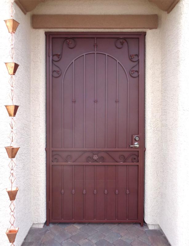 Traditional Security Door - Item Americana SD0122C_Maroon Wrought Iron Design In Las Vegas