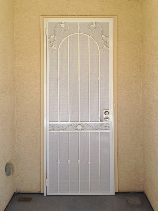 Traditional Security Door - Item Americana SD0122D_White Wrought Iron Design In Las Vegas