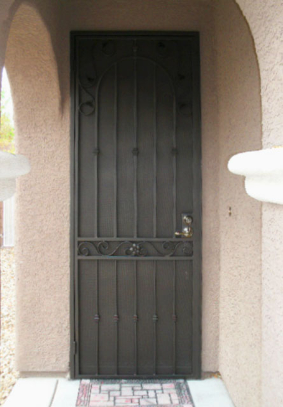 Traditional Security Door - Item Americana SD0122_Brown Wrought Iron Design In Las Vegas