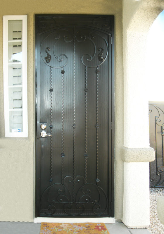 Traditional Security Door - Item Cappella SD0071 Wrought Iron Design In Las Vegas