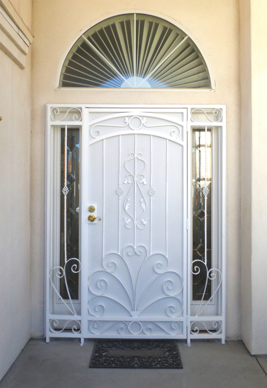 Traditional Security Door - Item Chattanooga SD0021B_White-Panel Wrought Iron Design In Las Vegas