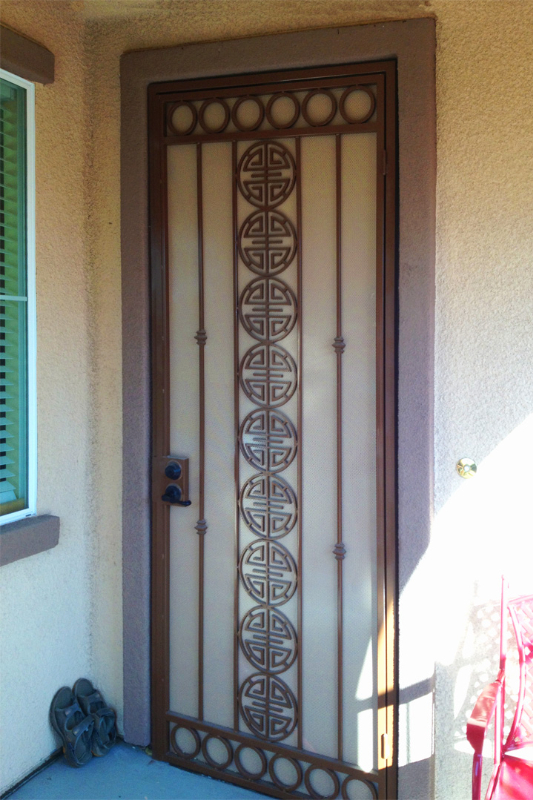 Traditional Security Door - Item Chi SD0067A_Brown-White Wrought Iron Design In Las Vegas