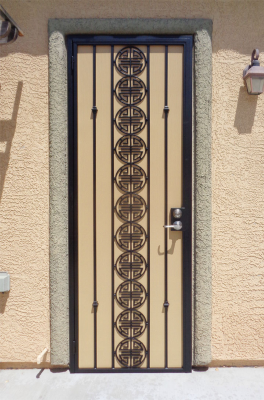 Traditional Security Door - Item Chi SD0067B_Black-Beige Wrought Iron Design In Las Vegas