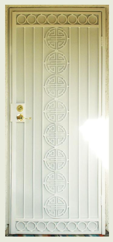Traditional Security Door - Item Chi SD0067_White Wrought Iron Design In Las Vegas