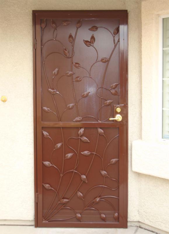 Traditional Security Door - Item Crescente SD0226B_Brown Wrought Iron Design In Las Vegas