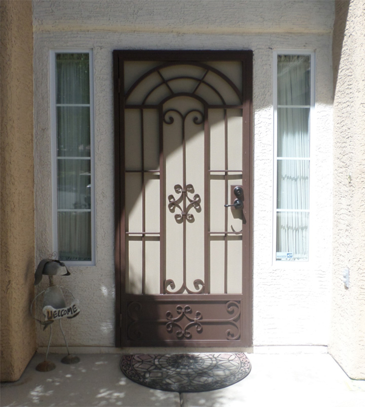 Traditional Security Door - Item Dixie SD0240_Brown-White Wrought Iron Design In Las Vegas