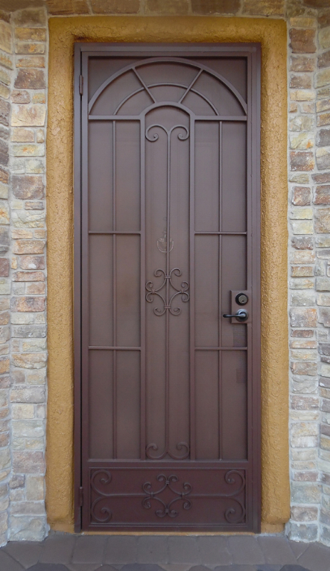 Traditional Security Door - Item Dixie SD0240_Maroon Wrought Iron Design In Las Vegas