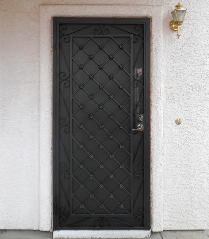 Traditional Security Door - Item Marrakesh SD0018B_Dark_Brown Wrought Iron Design In Las Vegas