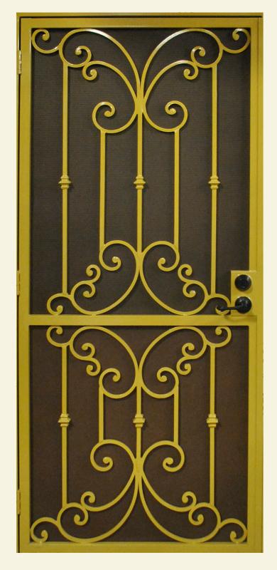 Traditional Security Door - Item Papillion SD0152 Wrought Iron Design In Las Vegas