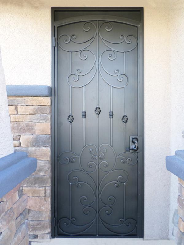 Traditional Security Door - Item Papillion SD0231 Wrought Iron Design In Las Vegas