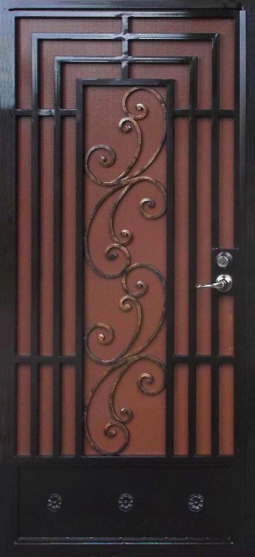 Traditional Security Door - Item Prato SD0002 Wrought Iron Design In Las Vegas