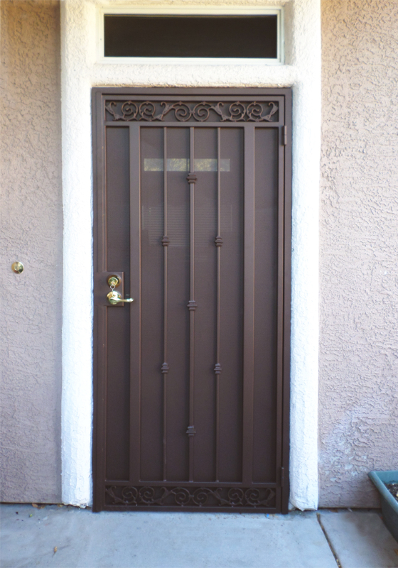 Traditional Security Door - Item Santiago SD0009 Wrought Iron Design In Las Vegas