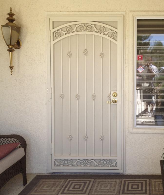 Traditional Security Door - Item Santiago SD0009B Wrought Iron Design In Las Vegas
